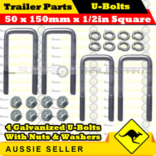4 x U-Bolts 50mm x 150mm Square with Nuts Galvanized Trailer Box Boat Caravan