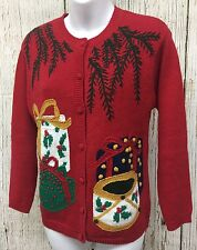 Vtg Bryn Connelly Petites Hand Knit 3D Presents Christmas Cardigan Sweater Sz PS