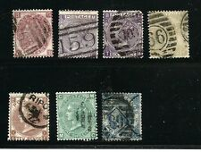 Great Britain Stamps- Scott # 49-55/A17-A23-Canc/H-1867-80-NG-Wmk.25