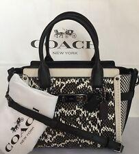 e1955039ed46 COACH 57748 Swagger 21 Snake Leather DK Chalk Black Handbag Purse NWT