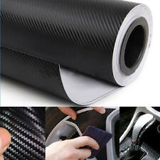 "12""X50"" 3D BLACK CARBON FIBER VINYL CAR WRAP SHEET ROLL FILM STICKER DECAL DIY"
