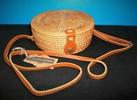 Hand-Woven Round Rattan Bag Straw Purse Handmade Wicker Crossbody Leather Strap