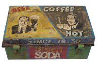 Beer Coffee Vintage Painted Metal Trunk Chest Retail Display Home Furniture