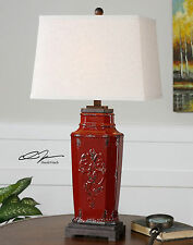 "NEW 31"" EMBOSSED RED CERAMIC TABLE LAMP BLACK BROWN ACCENTS READING DESK LIGHT"