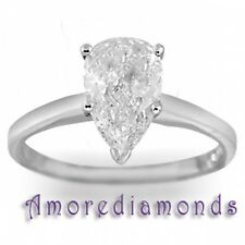 2 ct K SI1 natural pear shape diamond solitaire engagement ring 14k white gold