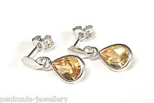 9ct White Gold Citrine Teardrop Earrings Made in UK Gift Boxed