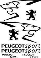 Kit de 8 Sticker Autocollant  Peugeot Sport 206 207 306 307 Noir p02