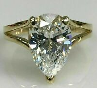 4.00 Ct Pear cut Solitaire Band Diamond Engagement Ring Solid 14K Yellow Gold