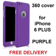 360° Protective Tempered Glass Hard Case Cover for iPhone 6/6s Plus Purple