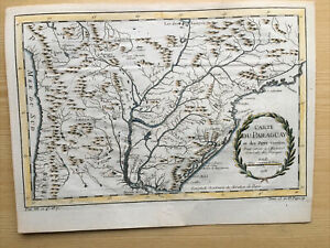 1755, Paraguay Antic Map Carte Couleurs Hand Colored