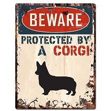 PP2480 PROTECTED BY A CORGI Plate Chic Sign Home Decor