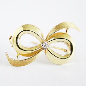 Brosche Gold 585er Diamant 14 kt Schleife Anstecknadel Damen