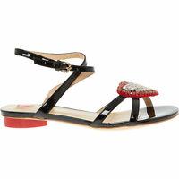 LOVE MOSCHINO Black Glossy Jewel Heart Flat Ankle Strap Sandals UK 4 RRP £ 210