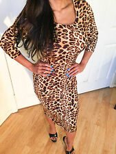 Connie's 3/4 Sleeves Leopard print midi dress w/ scoop neckline & back Small