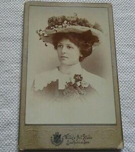VICTORIAN CABINET CARD, WOMEN IN EASTER BONNET, SOUTHEND ON SEA STUDIO