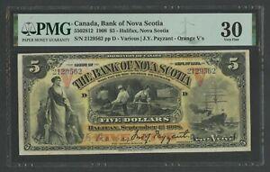 CANADA #5502812 $5 1908 PMG 30 BANK OF NOVA SCOTIA CHOICE VF WLN399