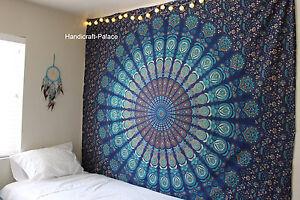 Indian Mandala Tapestry Hippie Wall Hanging Blue Bohemian Bedspread Twin Decor