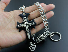 Wallet Jeans Skull Cross Long Chain Biker Rock Punk Gothic KeyChain