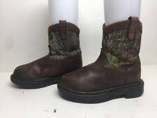BOYS ROCKY COWBOY LEATHER/TEXTILE BROWN/CAMOUFLAGE BOOTS SIZE ?
