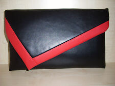 OVER SIZED RED & BLACK Faux leather Clutch bag. LOVINGLY Handmade in Derbyshire