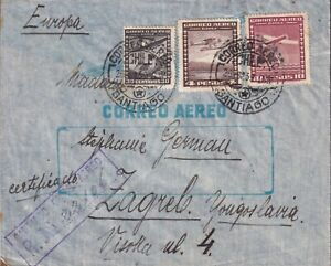 1939 CHILE LOT of 5 REG AIRMAIL to YUGOSLAVIA attractiv