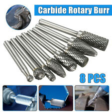 8pc Tungsten Carbide Burrs Rotary Burr Set Head 1/4'' Shank Die Grinder Bit F688