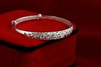 925 Silver Crystal Chain Bangle Cuff Charm Women Bracelet Jewelry Gift