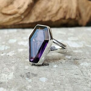 Amethyst Coffin Ring 925 Sterling Silver Plated Handmade Ring Size 9 gt224