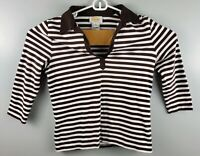 Talbots Womens Long Sleeve Blouse Shirt Size Medium Brown White Stripe