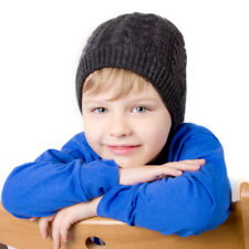 Children's Beanie Hat Warm Soft Boys Girls Cable Knit 6-13 y.o. Charcoal Gray