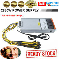Mining Power Supply 2880w For Antminer Two (x2) S9 S7 L3 W/ Pci-e Cable 2021
