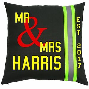 Personalized Firefighter Wedding Pillow Black