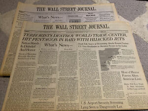 9/11  And September 12, 2001  The Wall Street Journal COMPLETE