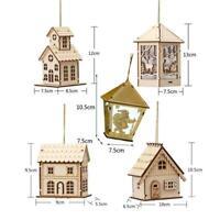 Mini Wood House Led Light Cute Christmas Tree Hanging Holiday Ornaments Dec E9T1