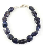 Genuine 160.00 Cts Natural Untreated 8 Inches Long Iolite Faceted Beads Bracelet