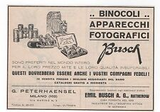 Pubblicità epoca 1933 BUSCH BINOCOLI FOTO PHOTO reklame advert werbung publicitè