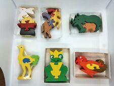 Vintage 6x Wooden Animal Figures Jigsaw Puzzle Toys Made in Greece & Germany