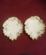 Pair of Vintage De LIMOGES France Hand Painted Flowers Leaf Plate Dish.