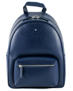 New Montblanc Sartorial Print Blue Leather Small Dome Backpack 116752