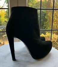 ZARA UK4/EU37 BLACK REAL LEATHER SUEDE ANKLE BOOTS High Heel & Integral Platfo