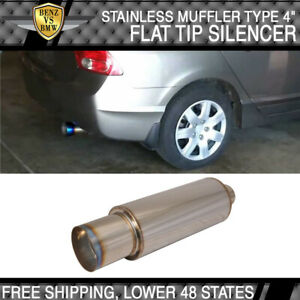 "Fits 84-02 BMW E90 E92 M3 N1 Type Muffler + Silencer Stainless Steel 4"" Flat Tip"