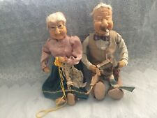 """23"""" Elderly Couple Grandmother Grandfather Dolls- Stamped Made In Germany."""