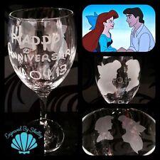 Personalizzata Disney Princess Ariel e Eric SIRENETTA da vino in vetro fatto a mano!