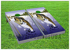 CORNHOLE BEANBAG TOSS GAME w Bags Game Boards Bass Fishing Fish Set 921