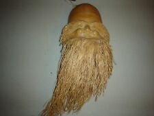 Coconut Carving Old Man Gnome Elf Wizard Long Beard Folk Art