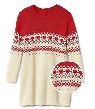 Baby Gap Girl Sweater Dress 6-12M Red Cream Fair Isle Yoke Long Sleeve Crew Neck