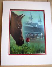 Horse and Rose Kentucky Derby 11x14 Matd 8x10 Art Print Race Fan Gift Memorial