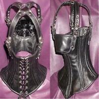 Quality PVC Leather head Harness Corset Hood Mask Neck collar Restraints