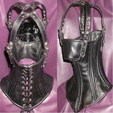 Quality PVC Leather head Harness Corset Hood Mask Neck collar Restraints