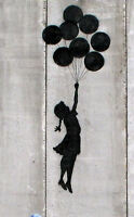 Framed Banksy Street Art Print – Young Girl with Balloons (Graffiti Picture)